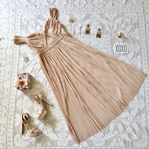 ASOS blush pleated maxi dress gown lace trimmed 12
